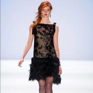 Tadashi Shoji Feather Sequin Event Dress